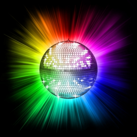 mirror ball: colorful disco ball 3d illustration