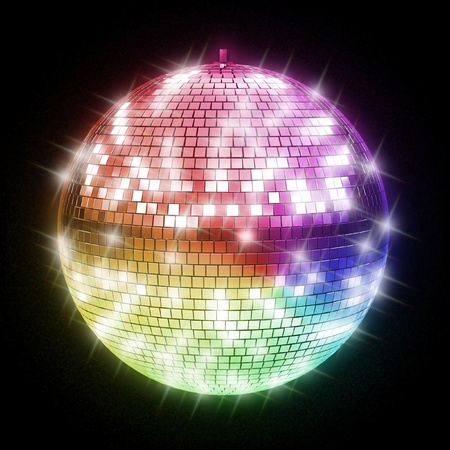 reflection in mirror: colorful disco ball