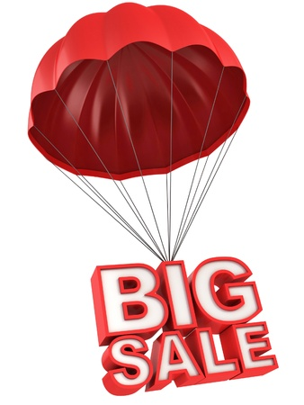 offer icon: big sale 3d letters on parachute Stock Photo