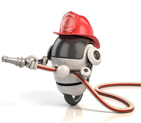bombero de rojo: robot bombero Foto de archivo
