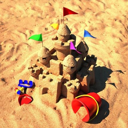 sandcastle: sand castle with beach toys  Stock Photo
