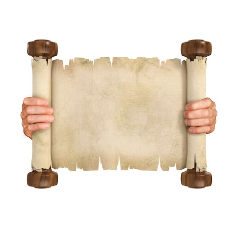hand holding paper: hands opening the parchment scroll isolated on white background
