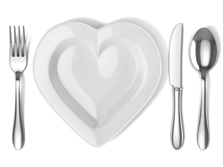 white plate: heart shaped plate with silverware