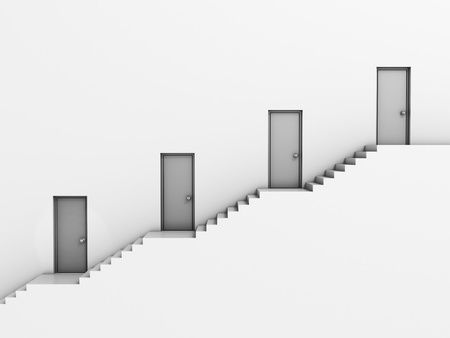 human pyramid: business hierarchy 3d concept - staircase with doors