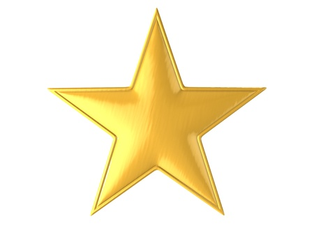 goldener Stern getrennt über weißer Abbildung des Hintergrundes 3d Standard-Bild