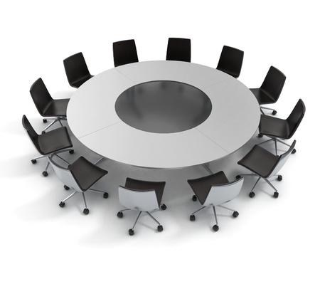 ronde tafel, diplomatie, conferentie, vergadering 3d concept