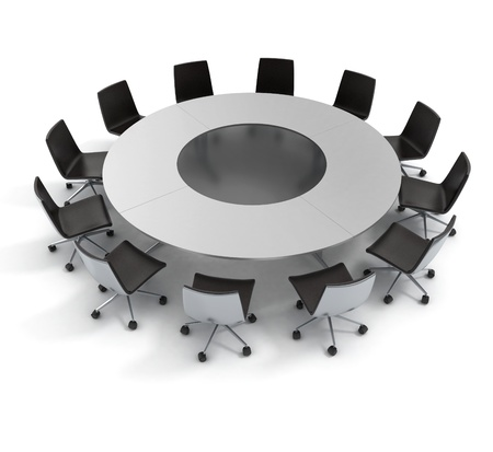 round chairs: round table, diplomacy, conference, meeting 3d concept  Stock Photo