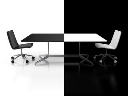 negociacion: negociaciones, el concepto de la confrontación - 3d escritorio en blanco y negro