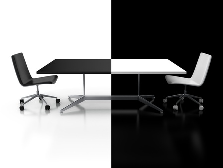 compromise: negotiations, confrontation 3d concept - black and white desk  Stock Photo