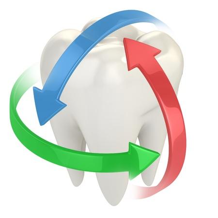 dientes caricatura: la protección de los dientes 3d concepto de Foto de archivo