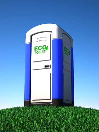 portable toilet on grass photo