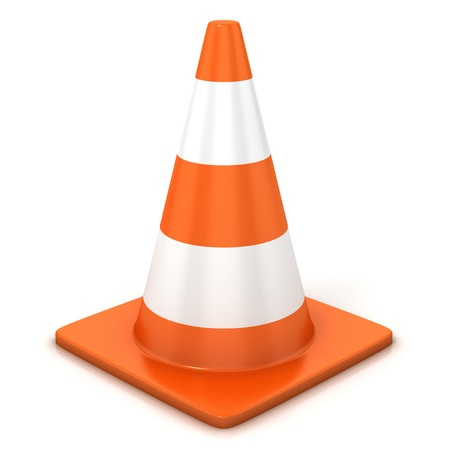 traffic cone isolated over white Stock Photo - 12330789