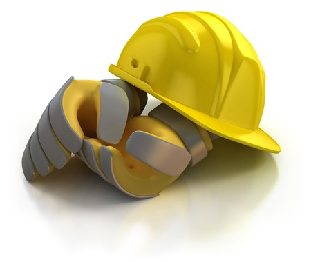 construction helmet and gloves isolated on white background  photo
