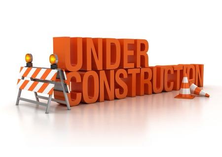 construction site: under construction sign 3d illustration  Stock Photo