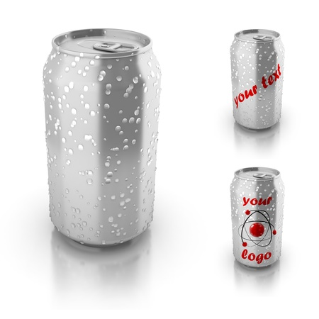 blank aluminium can with water drops isolated over white, suitable for placing your text or logo  photo