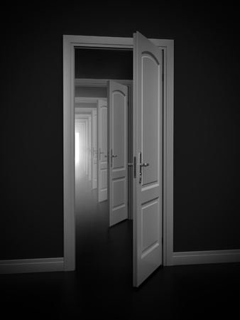 complicated: abstract doors - solution, solving problem 3d concept