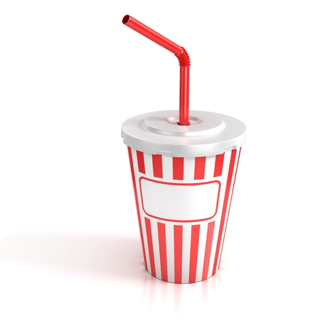 lid: fast food paper cup with red tube - customize by inserting your own text on the copy space  Stock Photo