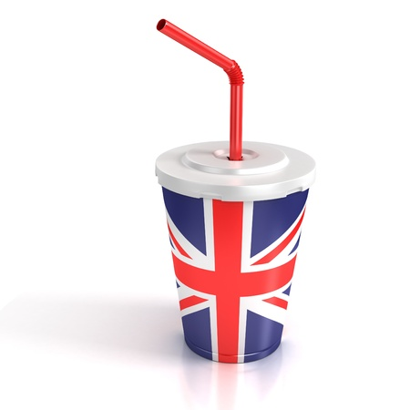 fast food paper cup with the Great Britain flag print  photo