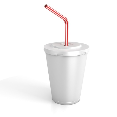 drinking soda: fast food paper cup with red tube - customize by inserting your own text on the copy space  Stock Photo