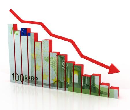 financiele crisis: euro crash, financiële crisis Stockfoto