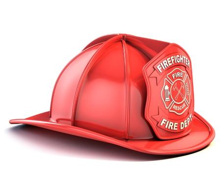 bombero de rojo: bombero de casco Foto de archivo