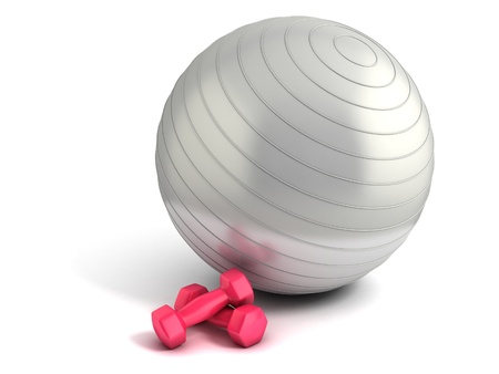 exercise equipment: fitness ball and weights isolated