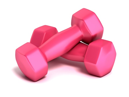 kilos: pink weights isolated on white 3d illustration