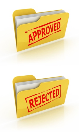 approval button: folder icon for approved  rejected documents  Stock Photo