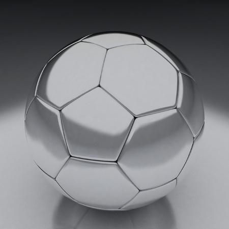 shiny football (soccer ball) on the reflective background 3d illustration  illustration