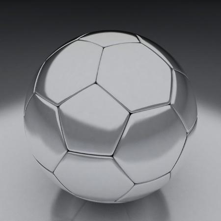 reflective background: shiny football (soccer ball) on the reflective background 3d illustration
