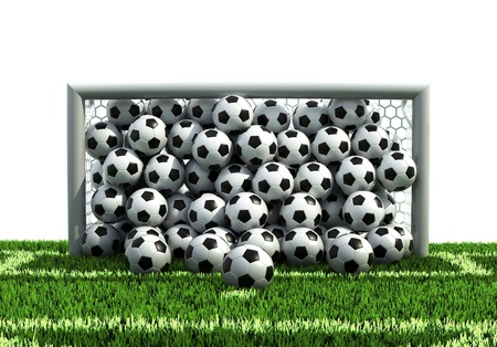 soccer pitch: goal full of soccer balls on the football field  Stock Photo