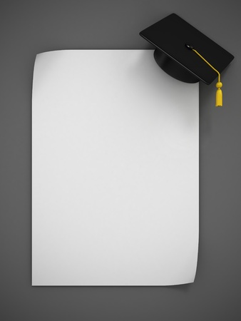 college graduate: Graduation Cap 3d rendering - two variations