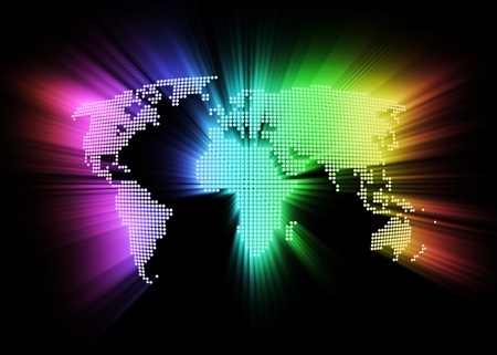 abstract glowing hi-tech world map as background photo