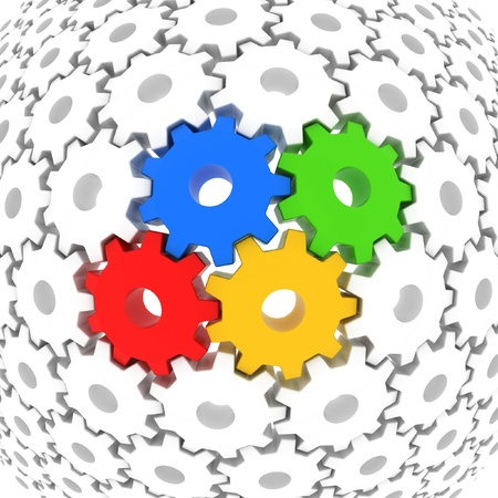 spinning wheel: colorful gears surrounded with white gears as background