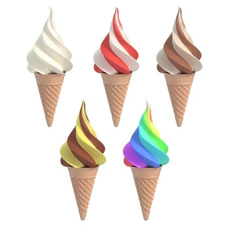 helado caricatura: conjunto de diferentes sabores de helados 3d ilustración Foto de archivo
