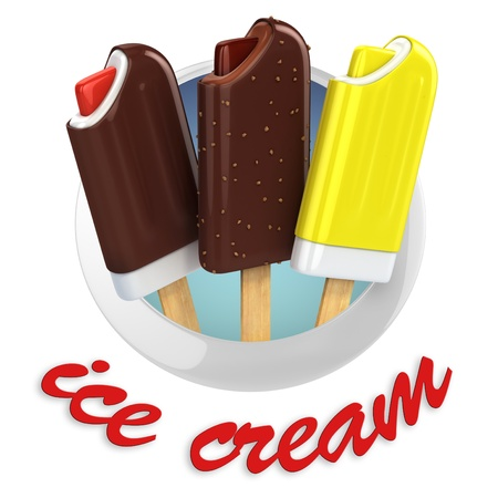 lolly: ice cream emblem - 3d illustration