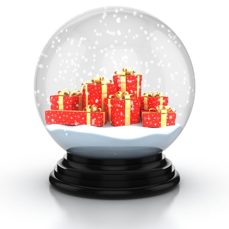 sphere base: snow dome filed with presents and snowflakes over white background Stock Photo
