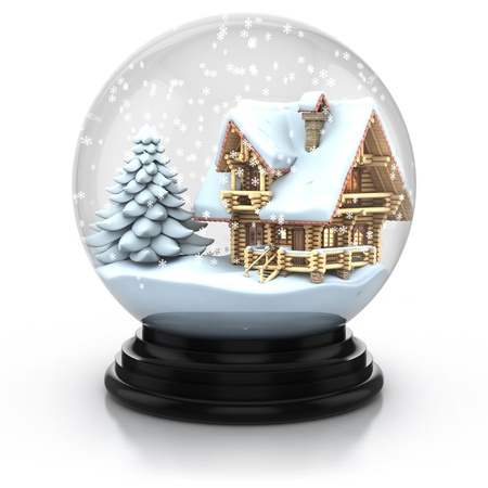log cabin in snow: glass dome winter scene - wooden house and tree cover with snow 3d illustration. Can be used as a Christmas or a New Year gift or symbol