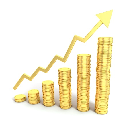 rising graphic: financial growth 3d concept - golden coins as bars rising on the graph