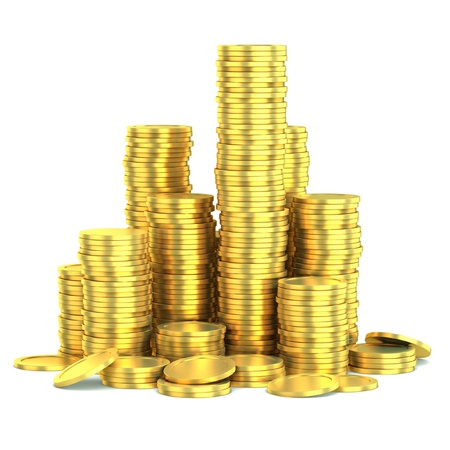 golden coins isolated  photo