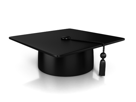 black cap: Graduation Cap 3d rendering Stock Photo