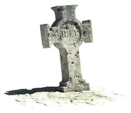 stone tombstone: cross shaped gravestone on the white background with rip sign on it