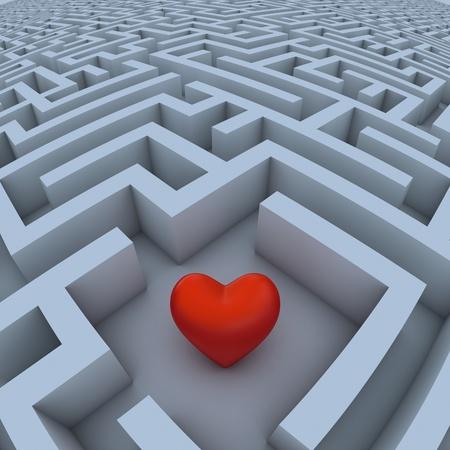 maze puzzle: hearth in labyrinth Stock Photo