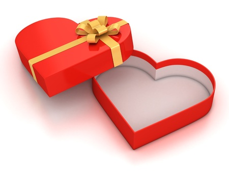 open empty hearth shaped gift box over white background 3d illustration  illustration