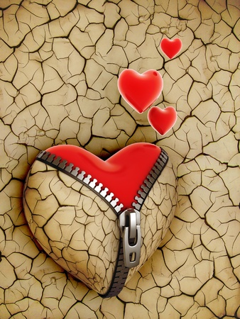 grunge heart: new love 3d concept - new shiny heart under broken one  Stock Photo