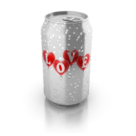 aluminium can: love potion 3d concept - love hearts printed on aluminium can  Stock Photo