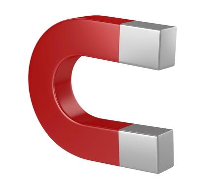 gravity: Horseshoe magnet 3d illustration isolated on the white background  Stock Photo