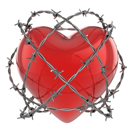 hurt: Red glossy heart surrounded by barbed wire 3d illustration