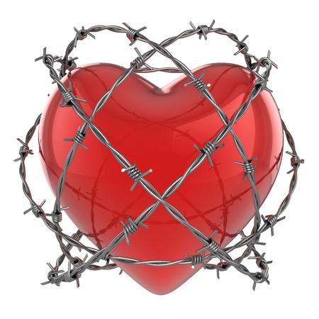 Rood glanzend hart omringd door prikkeldraad 3d illustratie