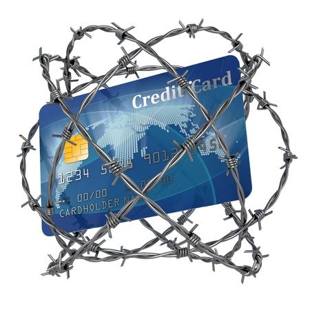 credit card debt: credit card wrapped in barbed wire 3d illustration  Stock Photo